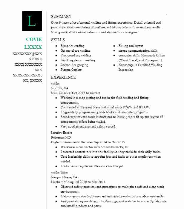 Pipe Welder Resume Sample Welder Resumes LiveCareer - pipeline welder sample resume