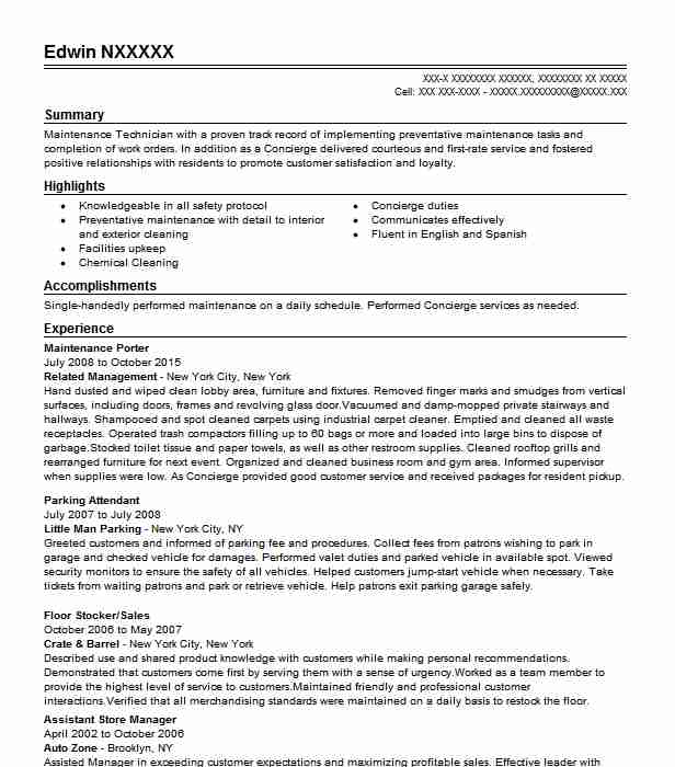 Maintenance Porter Resume Sample Porter Resumes LiveCareer