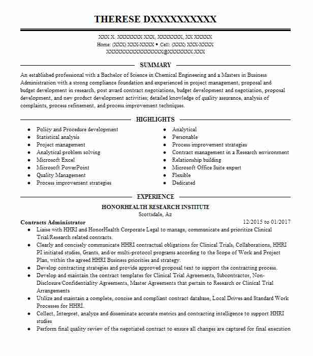 Contracts Administrator Resume Sample LiveCareer