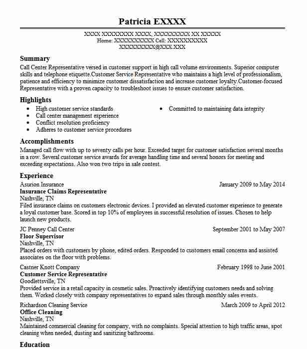 Insurance Claims Representative Resume Sample LiveCareer