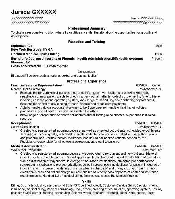 Financial Service Representative Resume Sample LiveCareer