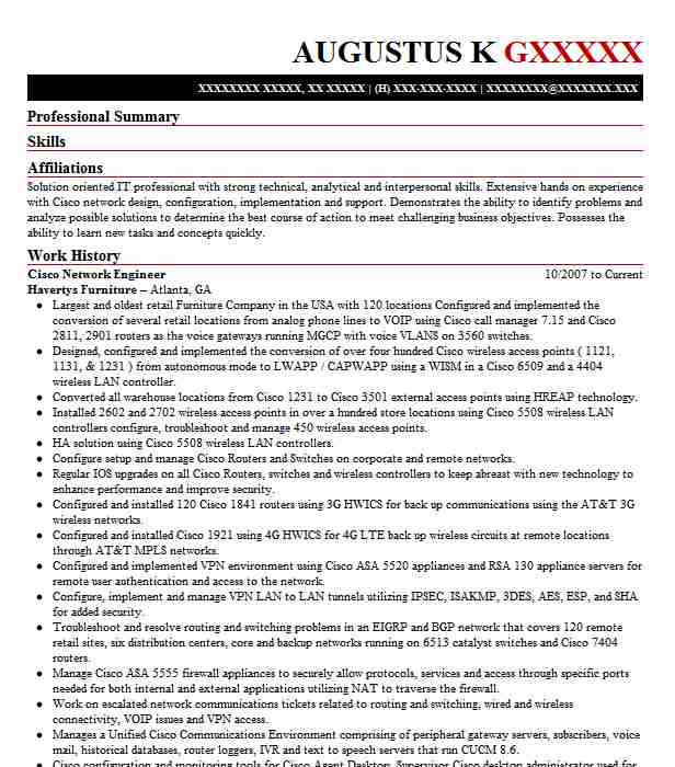 Cisco Network Engineer Resume Sample Resumes Misc LiveCareer