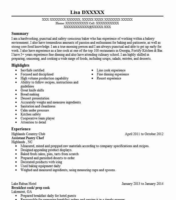 Assistant Pastry Chef Resume Sample Chef Resumes LiveCareer