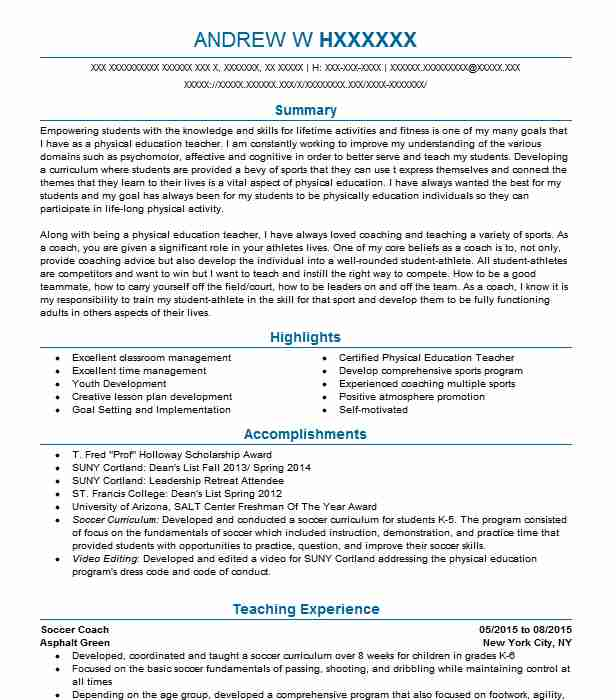 Soccer Coach Resume Sample Coach Resumes LiveCareer