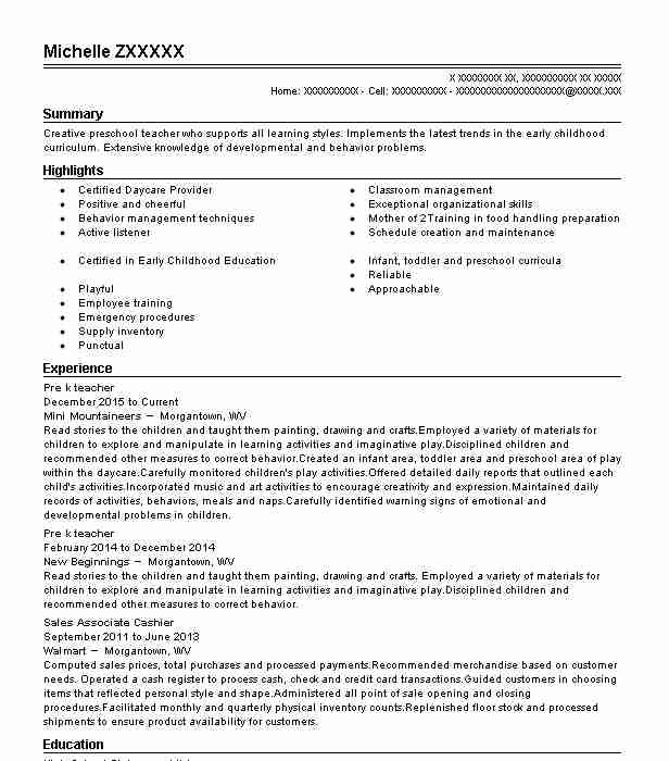 Pre K Teacher Resume Sample Caregiver Resumes LiveCareer - Pre K Teacher Resume