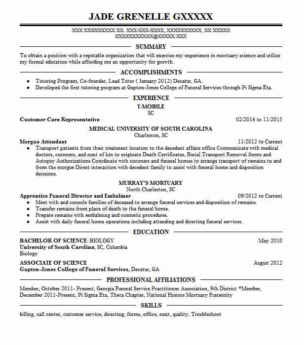 48 Morticians And Embalmers Resume Examples in South Carolina - morgue attendant sample resume