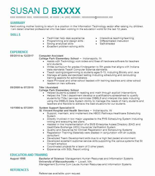 Computer Assistant Resume Sample Assistant Resumes LiveCareer