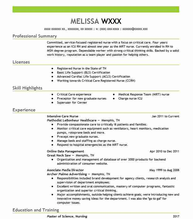 Best Intensive Care Nurse Resume Example LiveCareer