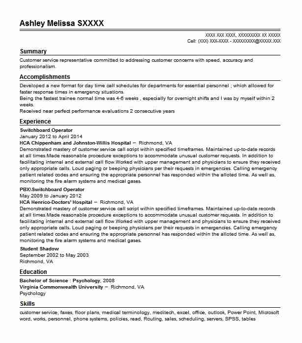 Switchboard Operator Resume Sample Operator Resumes LiveCareer