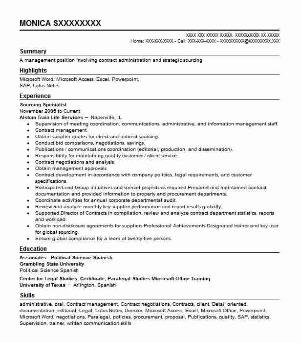 Sourcing Specialist Resume Sample Technical Resumes LiveCareer