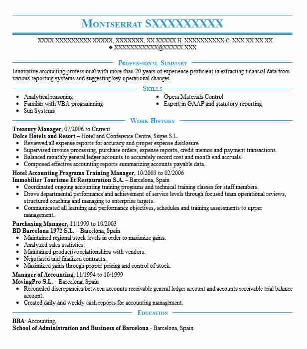 Treasury Manager Resume Sample Accountant Resumes LiveCareer