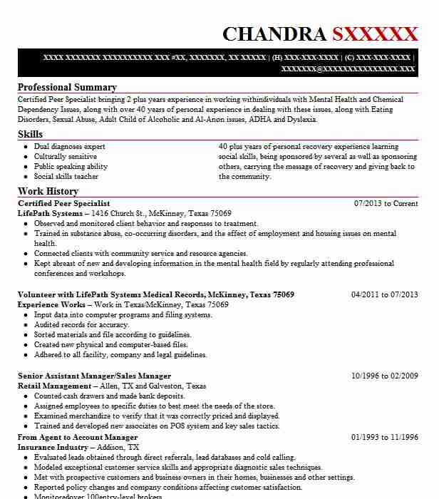 Certified Peer Specialist Resume Sample LiveCareer