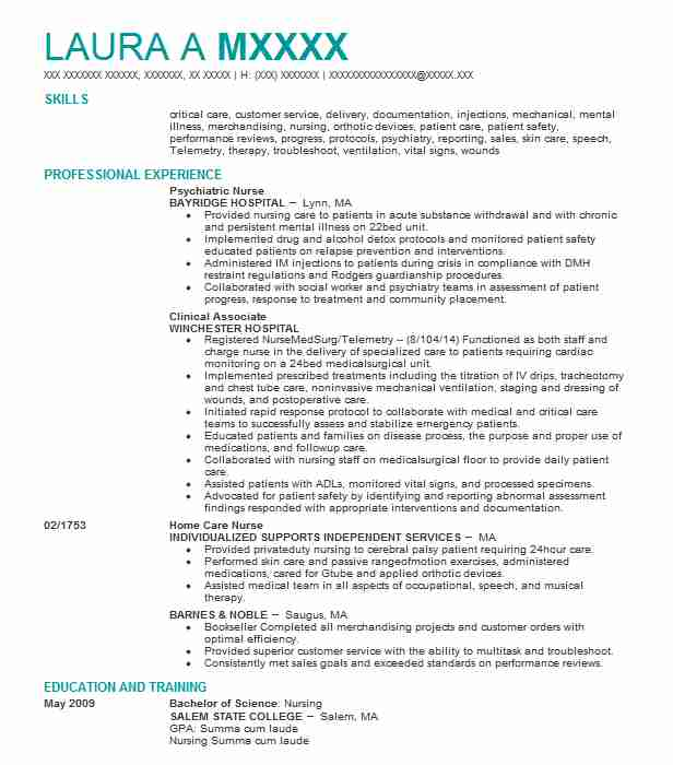 Psychiatric Nurse Resume Sample Nursing Resumes LiveCareer