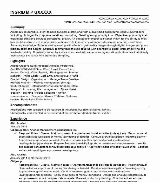 aml analyst resume samples