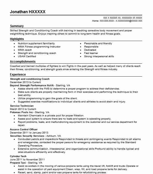 Strength And Conditioning Coach Resume Sample LiveCareer