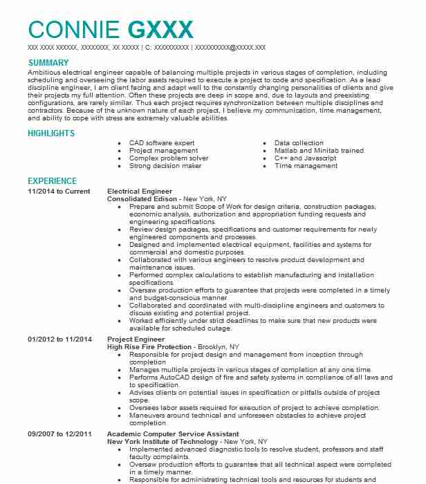 Electrical Engineer Resume Sample Resumes Misc LiveCareer