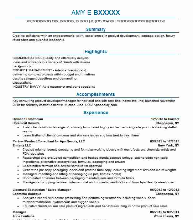 990 Estheticians Resume Examples in New York LiveCareer