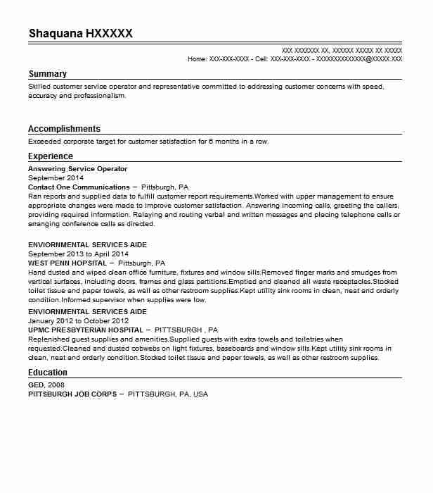 Answering Service Operator Resume Sample LiveCareer