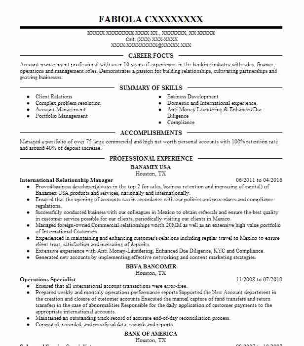 197219 Banking And Financial Services Resume Examples  Samples - International Experience Resume