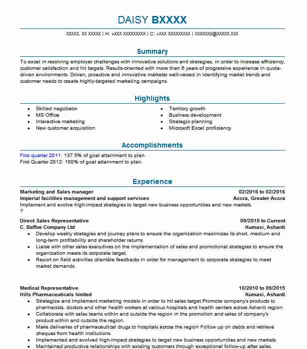 Direct Sales Representative Resume Sample LiveCareer