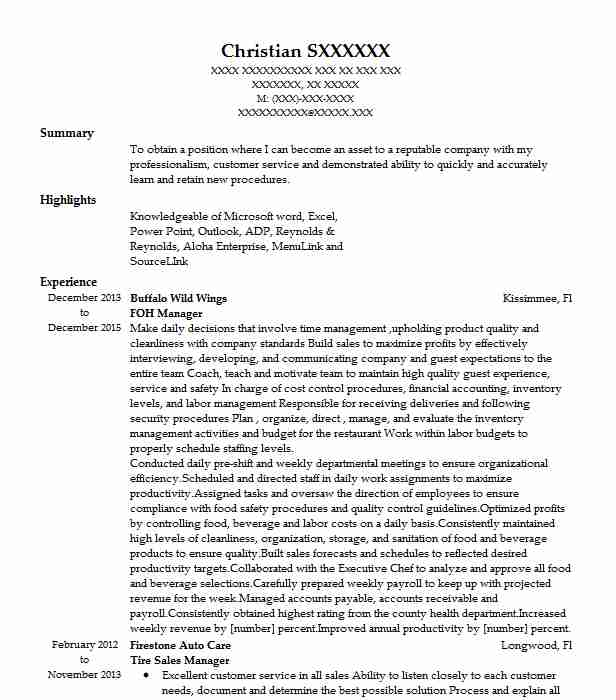 buffalo wild wings manager sample resume