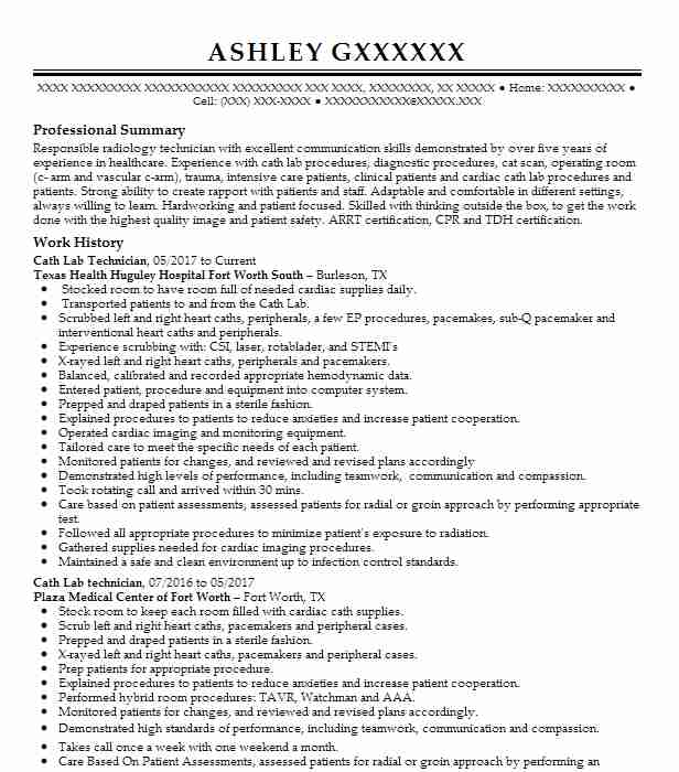 Cath Lab Technician Resume Sample Technician Resumes LiveCareer
