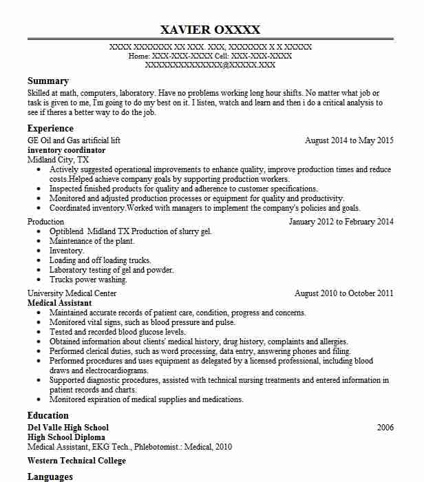 Inventory Coordinator Resume Sample Coordinator Resumes LiveCareer