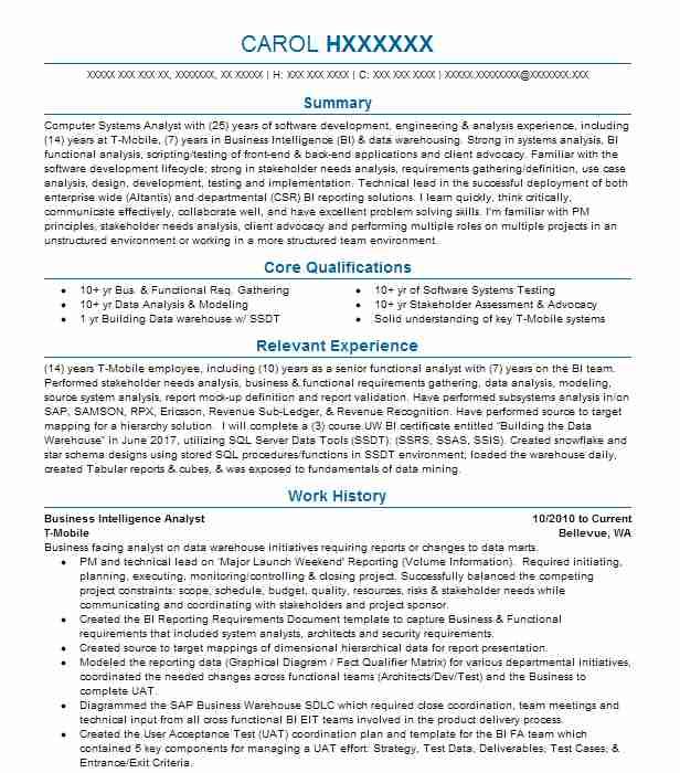 Business Intelligence Analyst Resume Sample LiveCareer