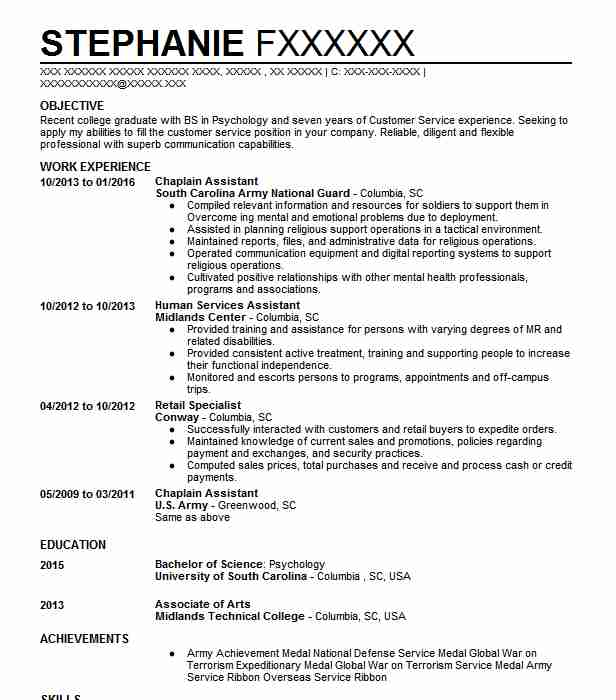 120 Clinical Psychology Resume Examples In South Carolina