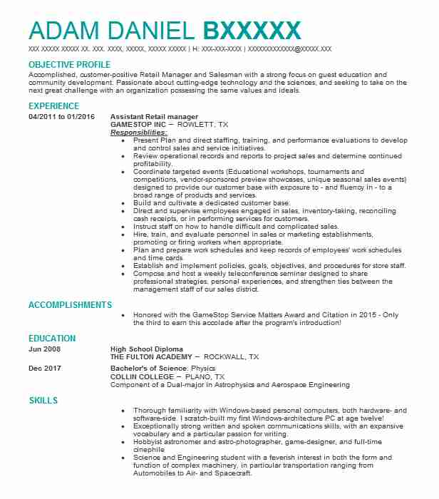 Assistant Retail Manager Resume Sample Manager Resumes LiveCareer - Resume Retail Manager