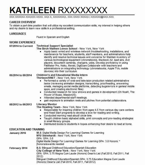 Technical Support Specialist Resume Sample LiveCareer - product support specialist sample resume