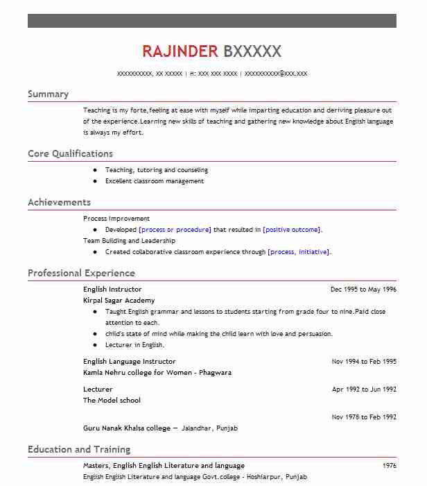 English Instructor Resume Sample Resumes Misc LiveCareer