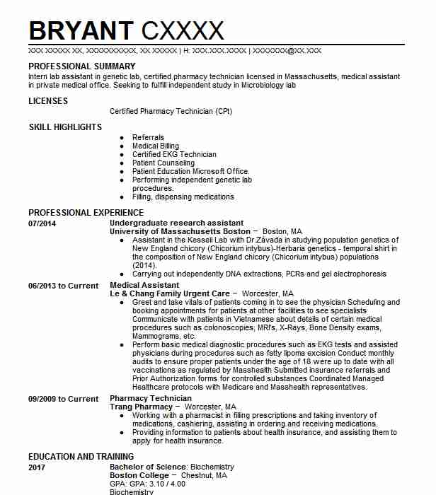 Undergraduate Research Assistant Resume Sample LiveCareer