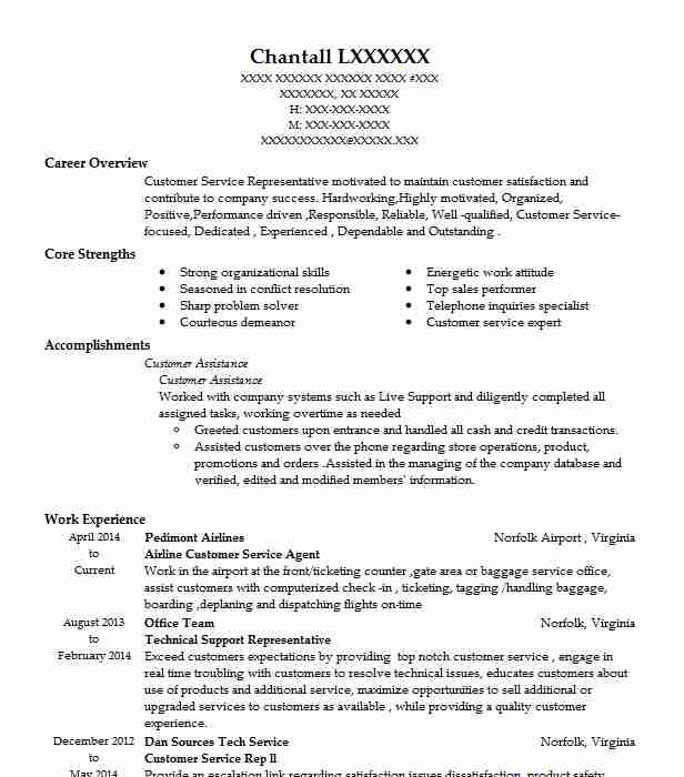 resume sample for airline ground staff