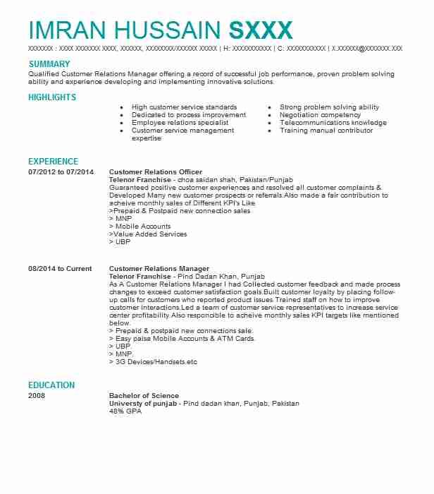 Customer Relations Officer Resume Sample Resumes Misc LiveCareer