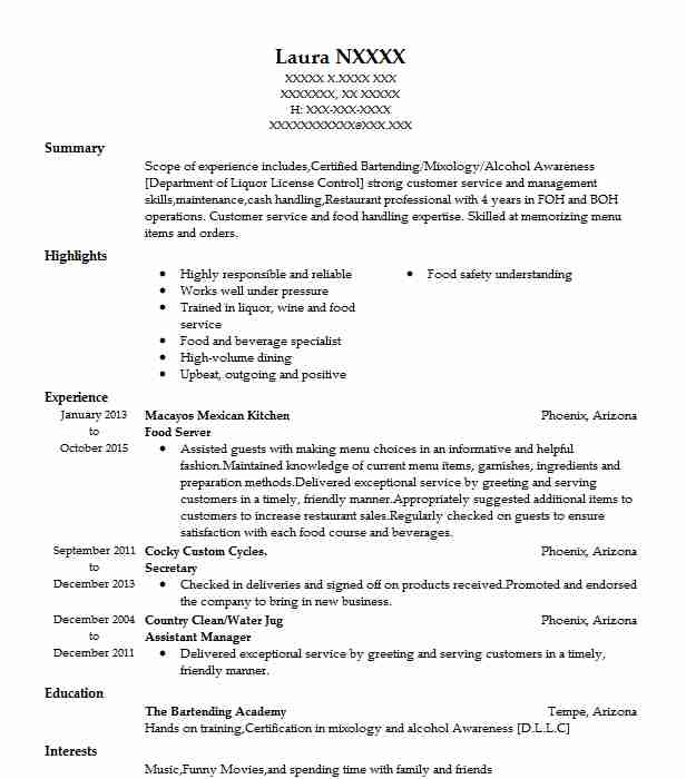 Food Server Resume Sample Server Resumes LiveCareer
