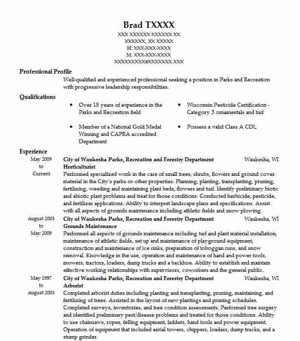 Horticulturist Resume Sample Agriculture Resumes LiveCareer