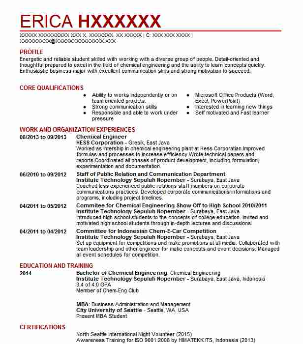 Chemical Engineer Resume Sample Technical Resumes LiveCareer