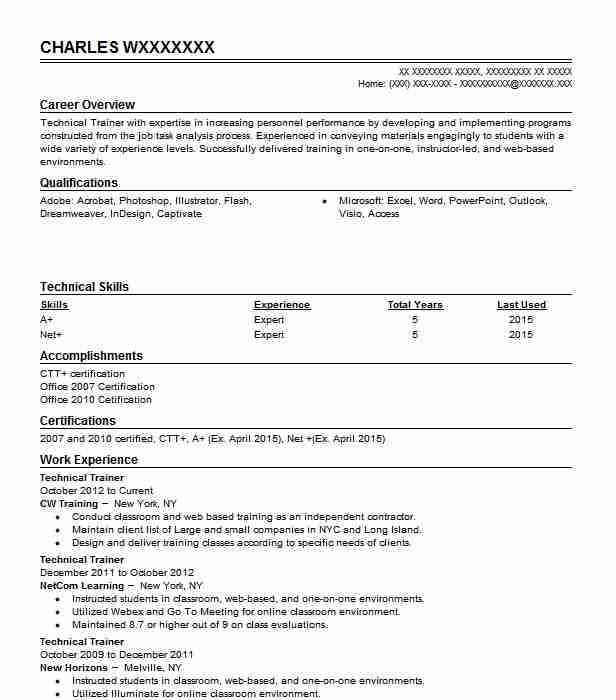 Technical Trainer Resume Sample Technical Resumes LiveCareer