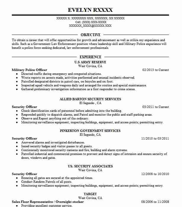 Military Police Officer Resume Sample Officer Resumes LiveCareer