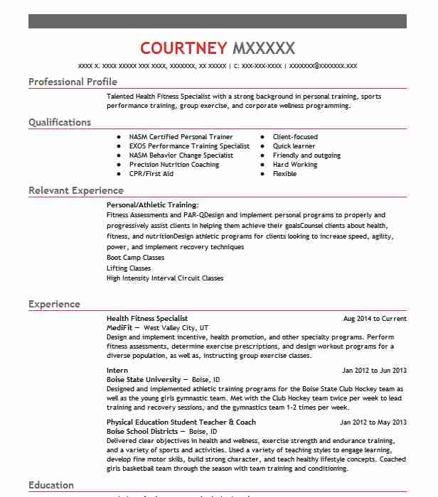 Health Fitness Specialist Resume Sample LiveCareer