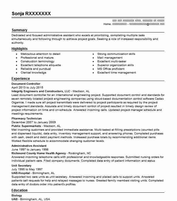 Document Controller Resume Sample Resumes Misc LiveCareer