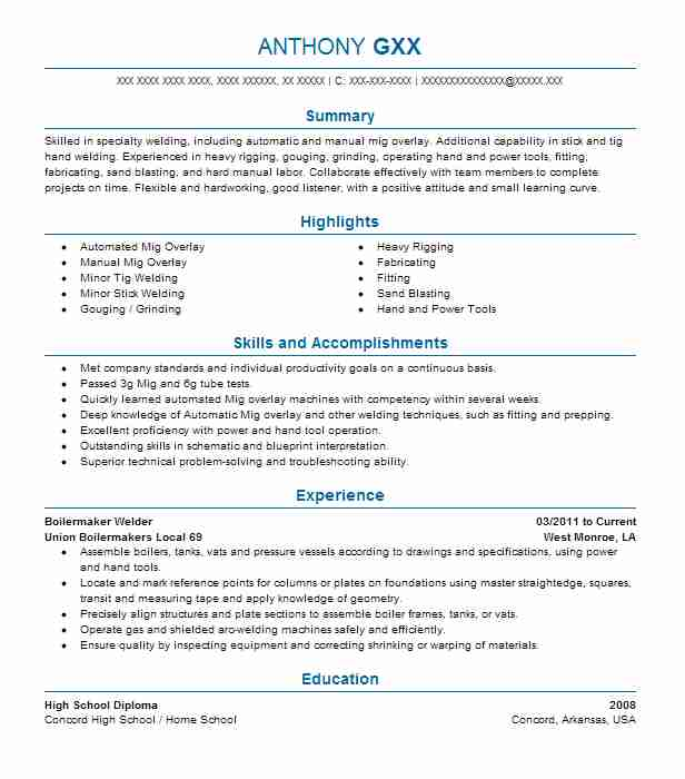 Boilermaker Welder Resume Sample Welder Resumes LiveCareer