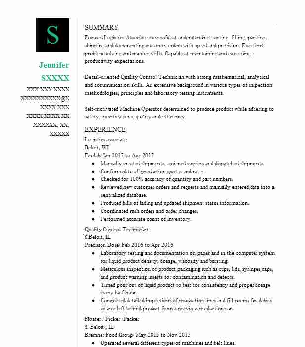 2269 Machinists Resume Examples in Wisconsin LiveCareer - logistics associate sample resume