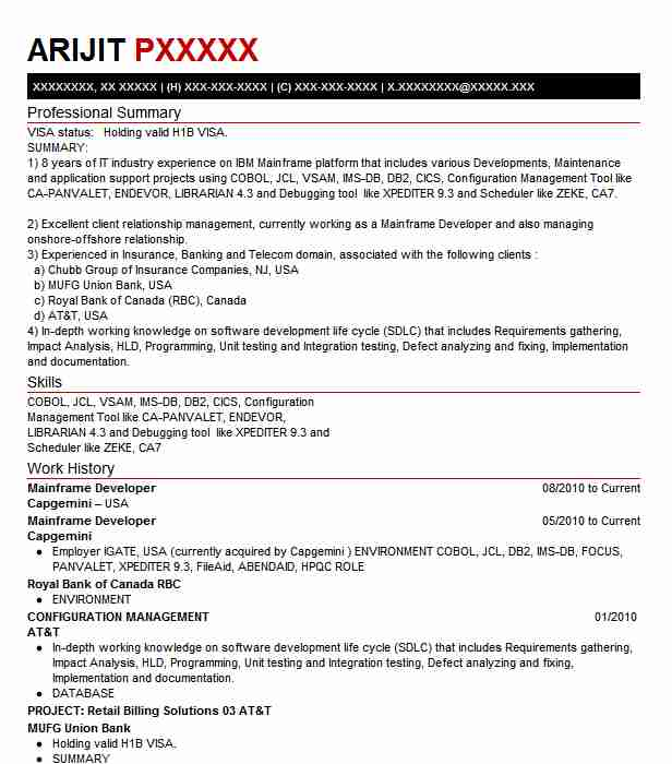 sample resume for 3 years experience in mainframes