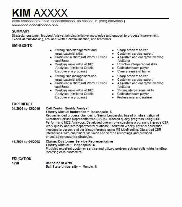 Call Center Quality Analyst Resume Sample LiveCareer