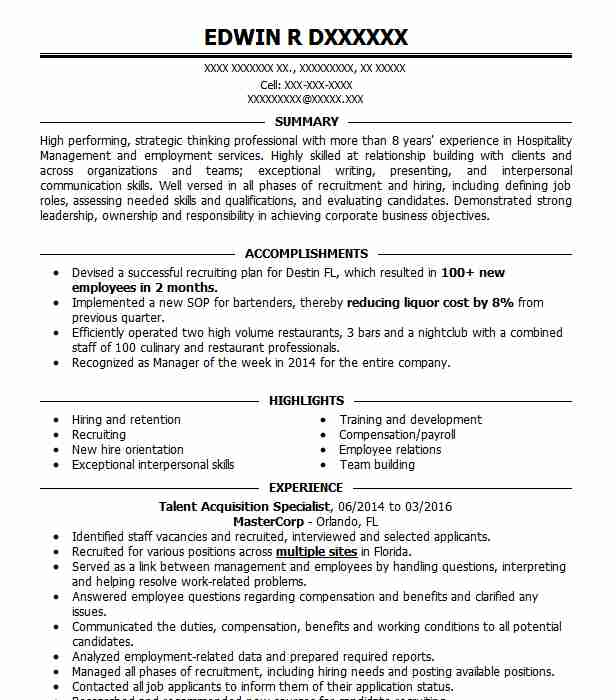 Talent Acquisition Specialist Resume Sample LiveCareer - Talent Specialist Sample Resume