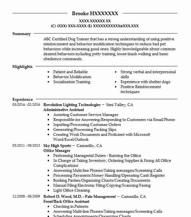 Marine Mammal Intern Resume Example (Clearwater Marine Aquarium