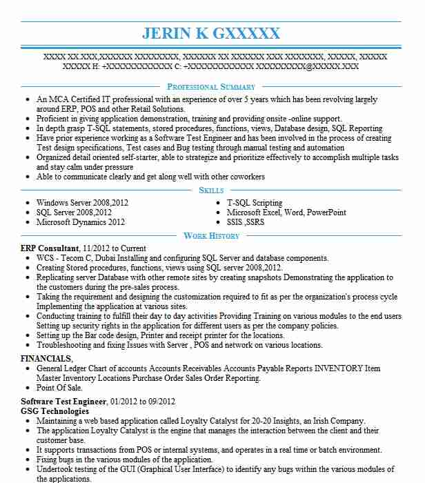 Erp Consultant Resume Sample Technical Resumes LiveCareer