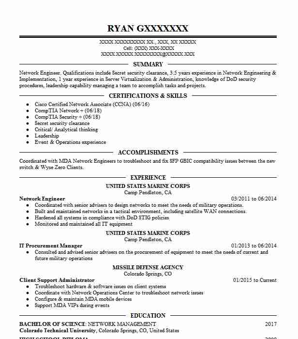 Network Engineer Resume Sample Technical Resumes LiveCareer